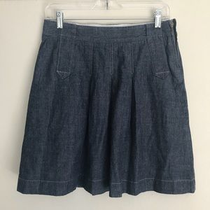 J Crew Dark Chambray Pleated A-Line Skirt
